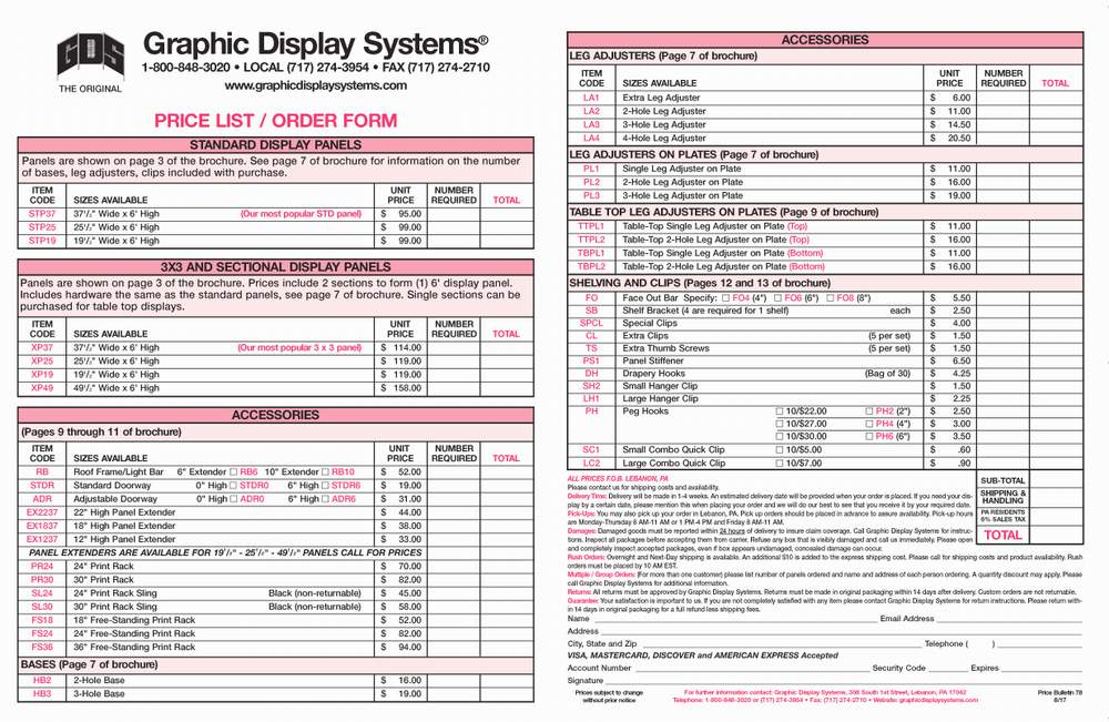 graphic display systems price list